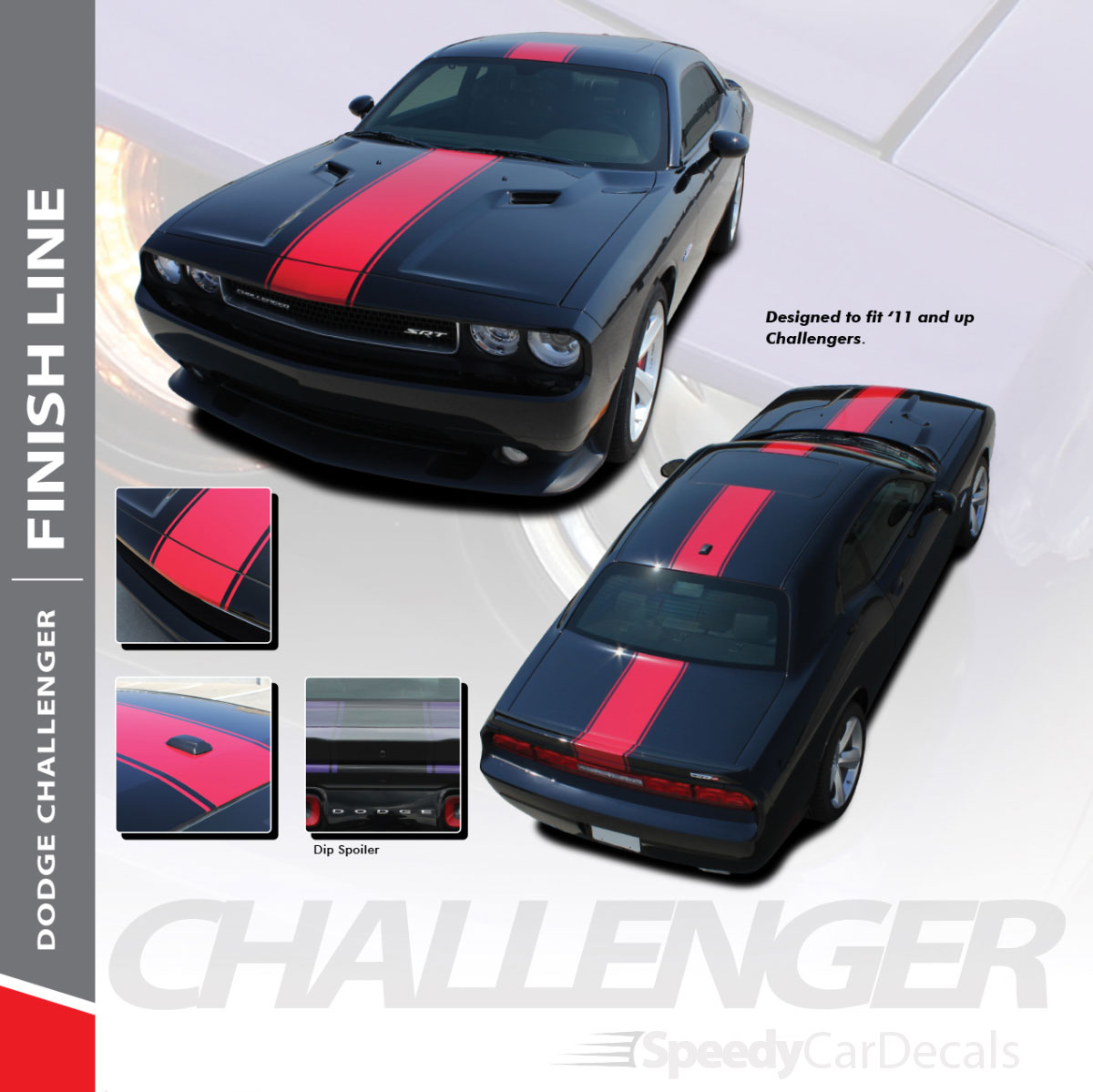 Dodge Challenger Center Racing Stripes 3m Finish Line 2011