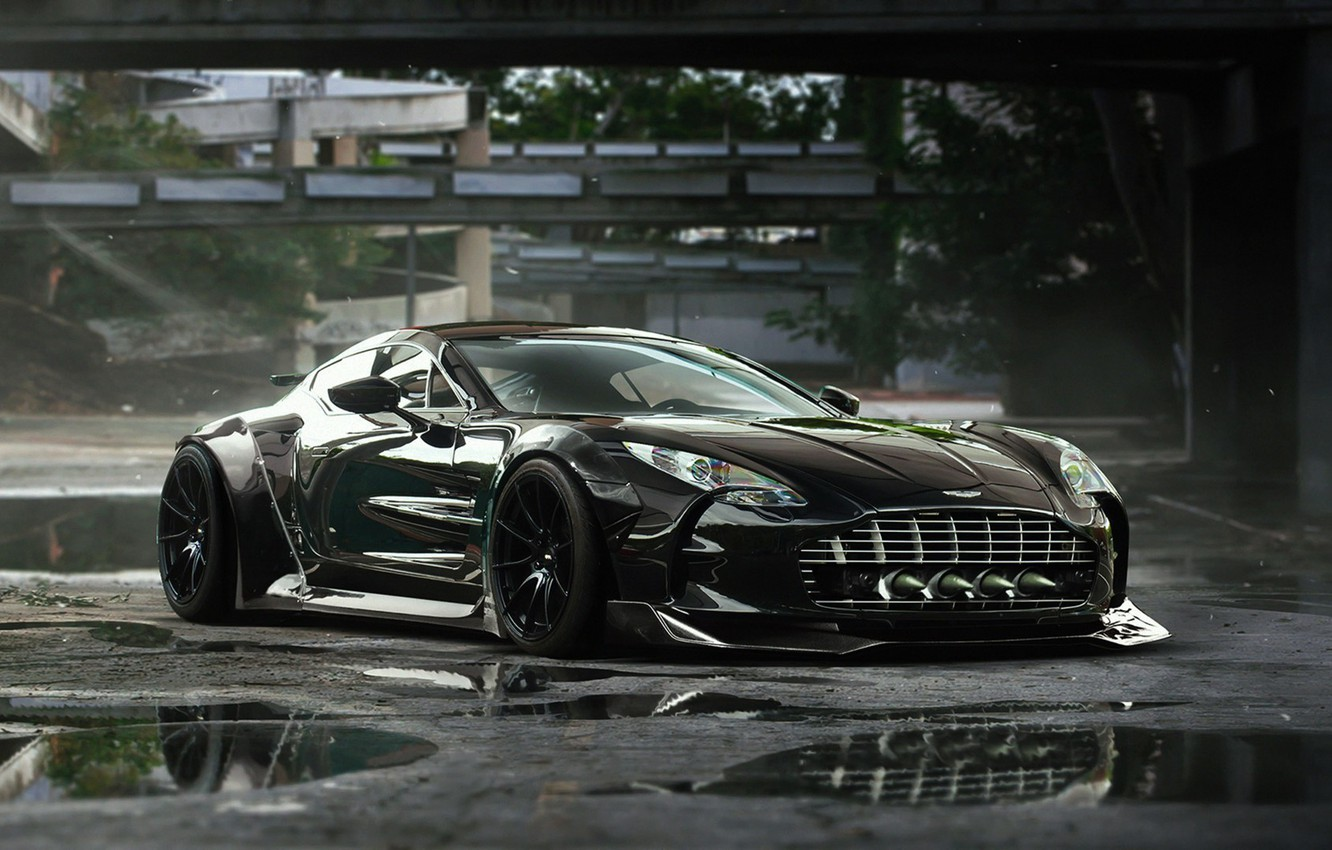 Wallpaper Aston Martin Black Tuning Future Supercar One 77