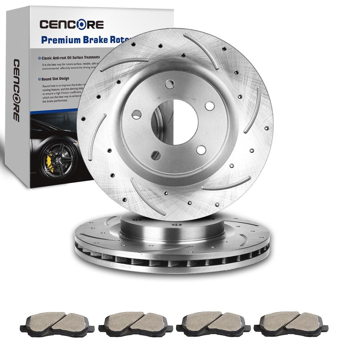 Details About 2 Front Drill Slot Brake Disc Rotors 4 Pads