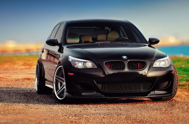 Wallpaper Of Bmw M5 E60 Black Front Background Hd Image 1920x1080 - Medium
