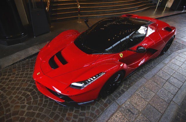 Wallpaper Ferrari Laferrari Red Supercar Top View Night White - Medium