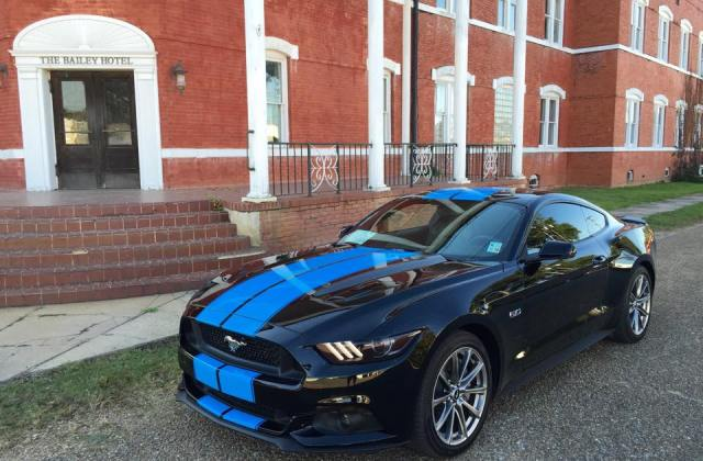 Grabber Blue Stripes On 2015 Ford Mustang Gt Fastback Are A Photo Gallery - Medium