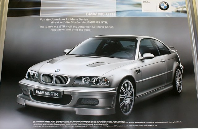 Poster The Bmw M3 Gtr Off American Le Mans Series Racetracks And Onto Road Street Version In Silver E46 Photo De - Medium