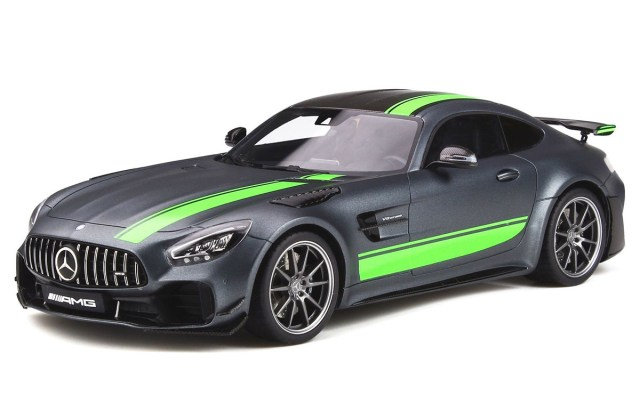 mercedes benz amg gt r pro matt gray with carbon top and green stripes 1 18 model car by spirit vmw gtr grey hot wheels - medium