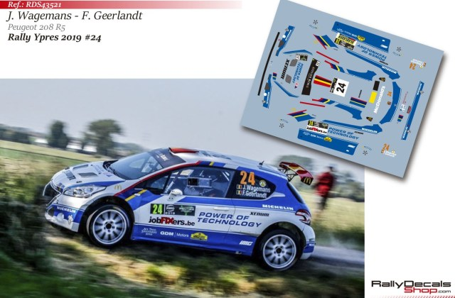 Joachim Wagemans Peugeot 208 R5 Rally Ypres 2019 Decals Shop Type - Medium