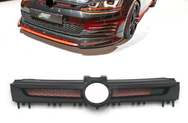 details about honeycomb front grille red mesh black fit for vw golf 7 mk7 gti tuning sport abt beetle - medium