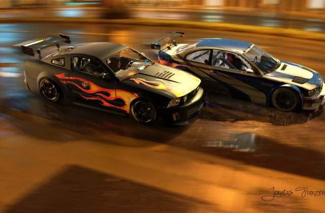 bmw m3 gtr ford mustang need for speed sports car muscle racing wallpaper - medium