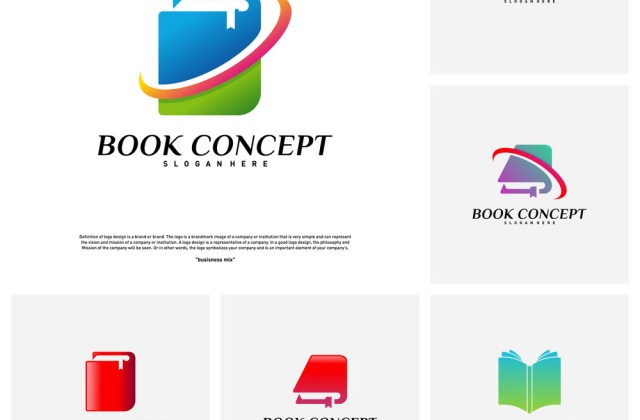 Set Of Book Logo Concept Smart Learning Education - Medium