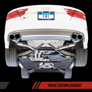 Awe tuning track edition exhaust for 2012 audi s7 4 0t diamond black tips - small