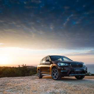 Black Bmw X5 On Mountain During Golden Hour Hd Wallpaper Wallpapers - small