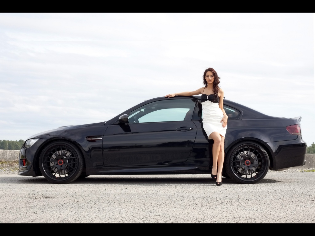 Girl Standing Front Of Bmw M3 Hd Wallpaper Wallpapers Galery Dual Screen