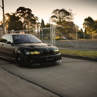 car bmw m3 e46 tuning german cars street trees bars wallpaper 1024x768
