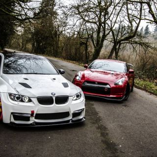 R35 E92 Road Nissan Bmw M3 Gtr Tuning Wallpaper Wallpapers Hd - small